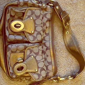 Coach Legacy 10339 Tan Sig bronze gold bag